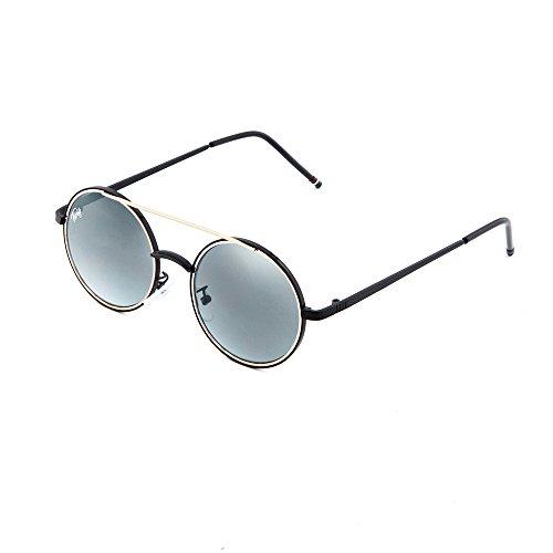 sol Negro GIOTTO TWIG redondo espejo mujer Plata Gafas hombre de T4qPaWU