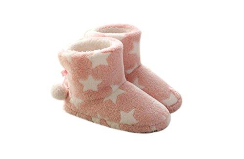 DANDANJIE Zapatos de Mujer Pentagram Pattern Botas de Nieve Zapatillas y Chanclas Otoño Invierno para Casua Home Indoor Outdoor Zapatos caseros Rosado
