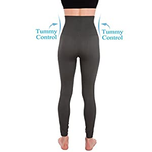 Homma Activewear Thick High Waist Tummy Compression Slimming Body Leggings Pant (Small, Charcoal)