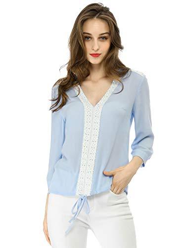 - Allegra K Women's V Neck Top Drawstring Hem Lace Yoke Blouse XS Blue