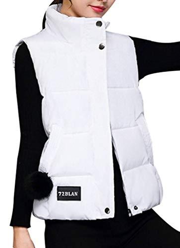 Yasong Women Padded Puffer Quilted Vest Gilet Bodywarmer Sleeveless Jacket White
