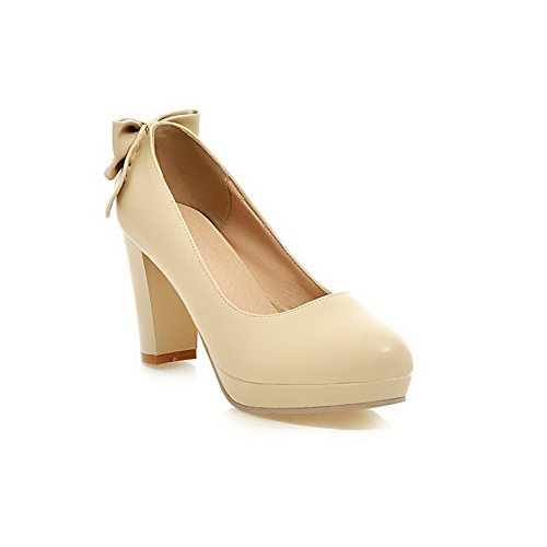 AllhqFashion Womens Pull-On High-Heels PU Solid Round Closed Toe Pumps-Shoes Beige ZrW89xne