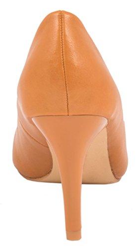 Elara Damen Pumps | Stiletto High Heels | Lederoptik Abendschuh marrón claro
