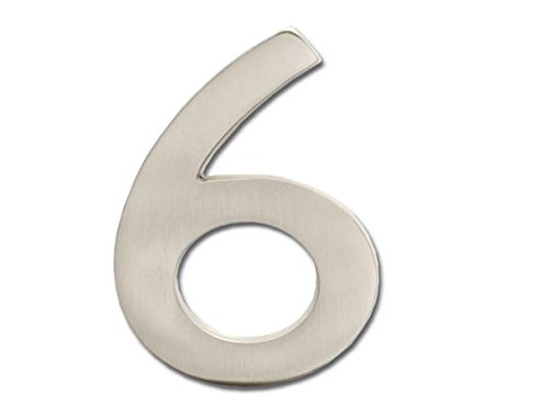 Architectural Mailboxes 3585SN-6  Brass 5-Inch Floating House Number 6, Satin Nickel