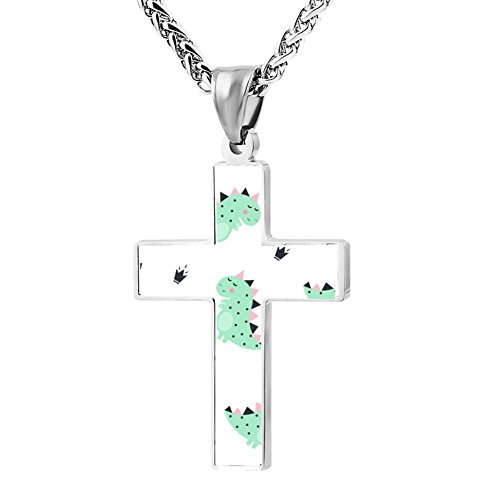 Elelab Dinosaur Cross Necklace Pendant Creative Personalized Accessories Prayer Christian 24 Inch