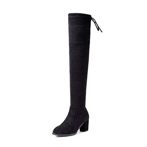 M Señoras Lace Black Cotton Botas Bloque 6B Largo Muslo Medio EU Altas 36 Sobre La Zapatos Talón Rodilla Mujeres US Up De lined Bajo Talón De Sq8qw