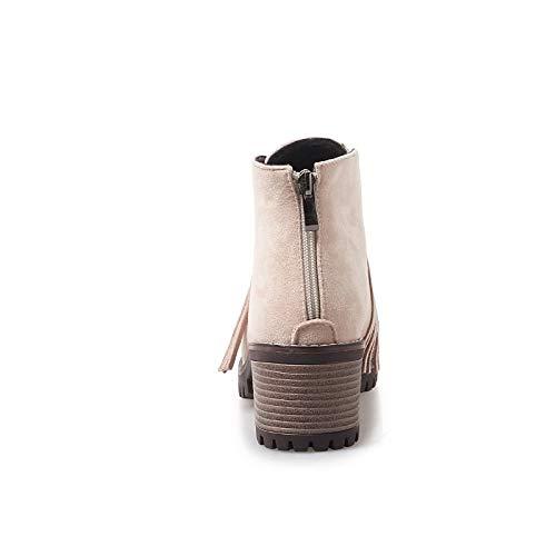 ZHZNVX Damen Stiefelie Wildleder Herbst Herbst Herbst & Winter Preppy Stiefel Blockabsatz Runde Form Stiefelies Stiefeletten Quaste Schwarz Grün   Mandel b21e11