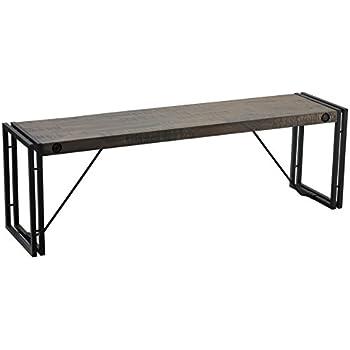 Amazon.com: Cortesi Home Thayer Bench, Driftwood with metal frame ...