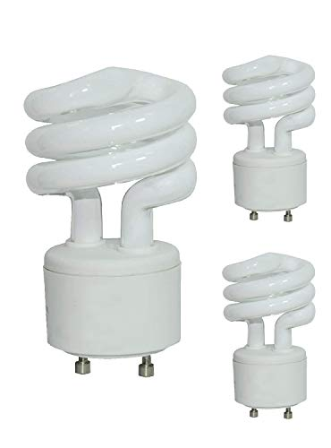 3 Pack - 13-Watt 2 Prong Mini Twist Self-Ballasted CFL Light Bulbs -GU24 Base- UL Listed - -120 V Bright Lighting-Spiral 2 Pin Plug-in -5000K Daylight 800lm-(60Watt Equivalent)10,000 Hour ()