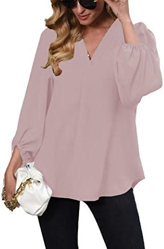 Womens Long Sleeve Blouses, V Neck Tops Lantern Sleeve Shirts Loose Blouses