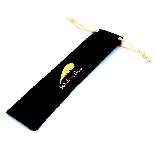 (Writers Pens Black Velvet Pen Sleeve with Yellow Gold Drawstring - L 6.5