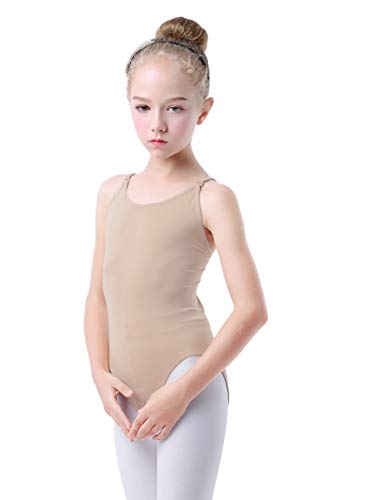 Daydance Tan Leotard for Kids, Seamless Ballet Dance Liner with Adjustable Straps (Tag M (Fit Height 100-120cm,3-5Y)