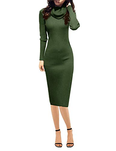 v28 Women Knit Cowl Neck Elastic Long Sleeve Stretchable Slim Knee Sweater Dress ()