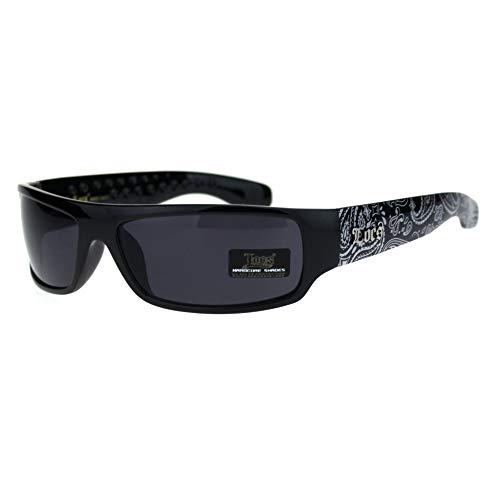 Locs Mad Dog Hardcore Gangster Cholo Narrow Rectangular Sunglasses Black ()