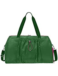 BG by Baggallini Step to It Duffel Bag - Lighweight Tote/Duffel Bag, Large Enough to hold Yoga Mat and More, Water-Resistant Nylon Travel Bag with Luggage Handle Sleeve, Shoe Pocket and Removable Wet Pouch
