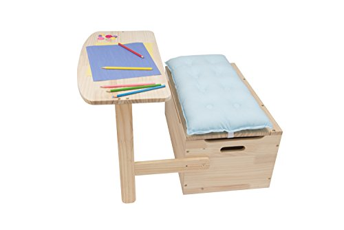 Wooden Desk and Chair Set w/ Toy Box Storage - Converts to Bench - Includes Blue Cushion 25 x 22 x 13 in