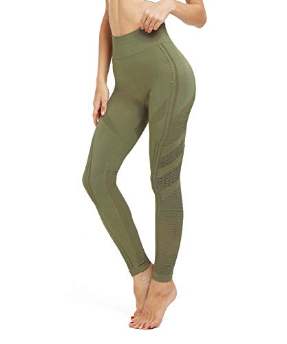 MOYOOGA Energy Seamless Leggings Mesh Workout Yoga Pants for Women Gym Athletic Exercise Flawless Knit Tights (S, Olive Green)