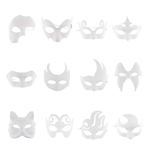CHICTRY 12Pcs Masquerade Masks DIY Unpainted Paintable Pulp