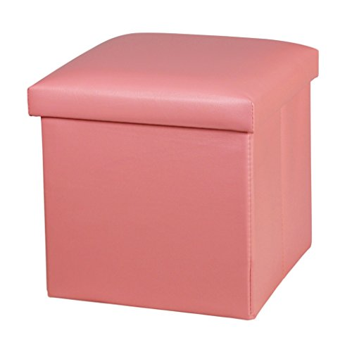 Kids Pink Foot (NISUNS OT01 Leather Folding Storage Ottoman Cube Footrest Seat, 12 X 12 X 12 Inches (Pink))