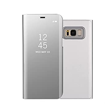 buy online f13bd 7b783 KP TECHNOLOGY Galaxy S8 Case - New Mirror Smart View Clear Flip Case Cover  For Samsung Galaxy S8 2017 (SILVER)