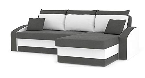 Sofá cama esquinero Hewlet gris y blanco: Amazon.es: Hogar