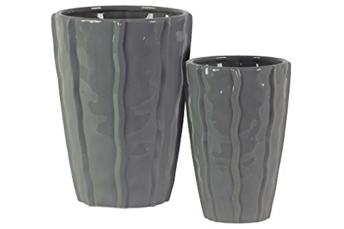 - Urban Trends 37312 Ceramic Low Vase with Embedded Wave Design Gray 2 Piece