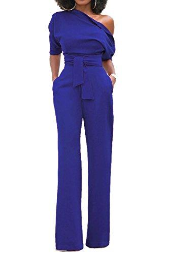 (Womens One Shoulder Solid Jumpsuits Wide Leg Long Romper Pants with Belt,Medium,RoyalBlue)