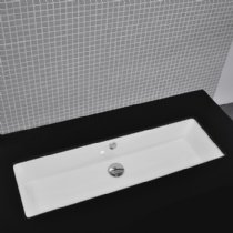 - Lacava Under-counter porcelain lavatory with an overflow, unglazed exterior, 35 1/2