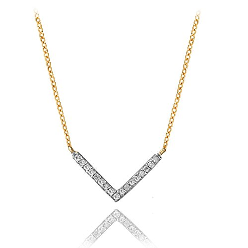 Tiny Pavé Diamond V Necklace in 14k Yellow Gold