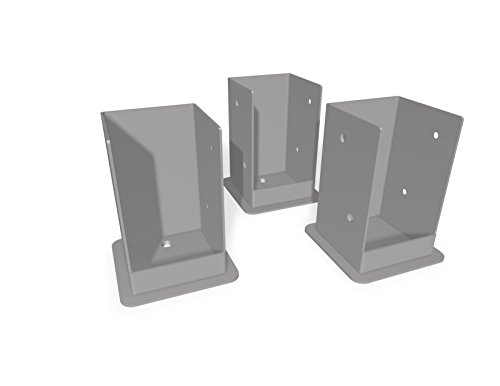 New England Arbors VA80207 Pergola Bolt Down Bracket Kit 3 Pack Surface Mount, (Pergola Deck Kit)