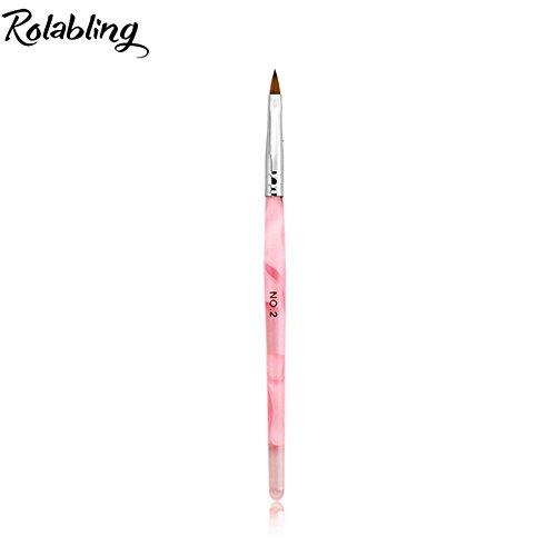 (Rolabling Kolinsky Sable Brush Acrylic Nail Art Builder Brush Crystal Pink Nail Art Painting Brush (size 2#) )