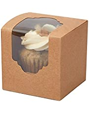 Yotruth Mini Cupcake Boxes Kfat Brown Extra Sturdy with Insert 100 Pack MNOne100KR