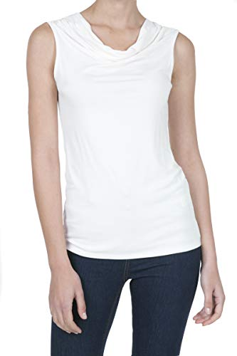 iliad USA 8006 Women's Cowl Neck Ruched Draped Blouse Tank Top OFFWHITE ()