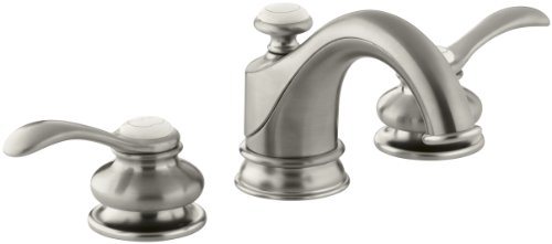 Brushed Nickel Plug Button - KOHLER K-12265-4-BN Fairfax Widespread Lavatory Faucet, Vibrant Brushed Nickel