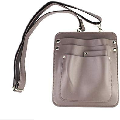 YONIK フローリストケース ガーデニングポーチ シザーケース 美容師 ツールバッグ ショルダーバッグ PUレザー (グレー)