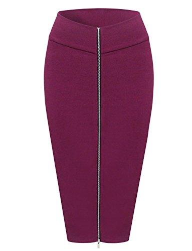Tom's Ware Womens Stylish Exposed Front Zip Stretchy Pencil Skirt TWCWD129-WINE-US L