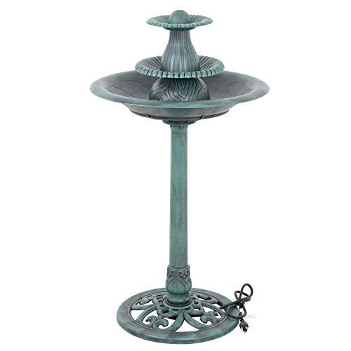 LordBee Bird Bath Outdoor Feeder Pedestal Decor Birdbath Vintage Antique Design Garden Iron Art Bowl Cast Style W Stand Metal Freestanding (Fountain ()