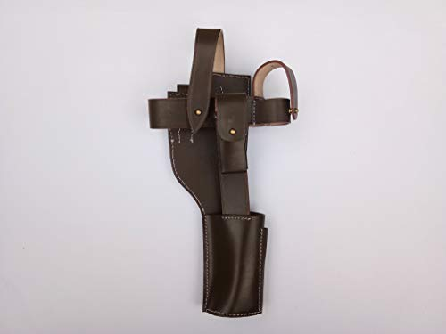 German WWI Mauser C-96 Broomhandle Holster Rig - Dark Brown (German Mauser Broomhandle Leather Holster And Stock)