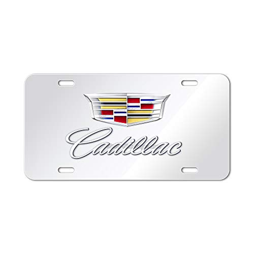 99 Carpro Cadillac Stainless Steel Front License Plate, Cadillac Chrome Logo and Name on Mirror License Plate Matching with Screws Caps Set (DIY)