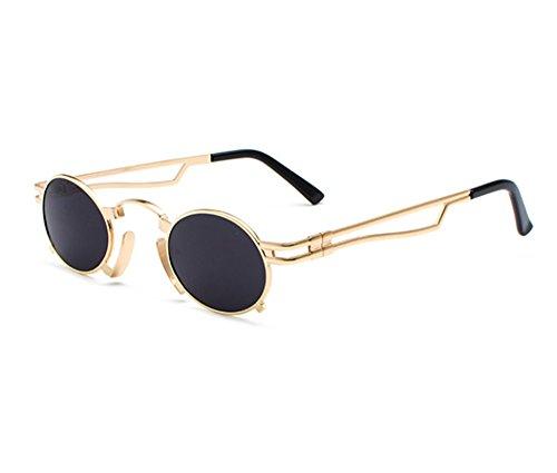 de UV400 de Oro marco sol vendimia de marco Steampunk Gris la ovaladas clásica del reflexivas góticas Gafas de coloridas gwxqTaqdE