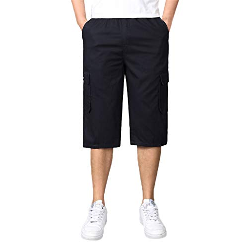 Giulot Men's Big & Tall Ranger Twill Side-Elastic Cargo Shorts Below Knee Loose Fit Multi-Pocket Capri Long Shorts ()