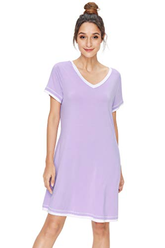 Pintage Women's V Neck Nightgown with Side Pockets