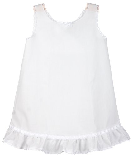 I.C. Collections Little Girls White Embellished A-Line Slip, 5 -
