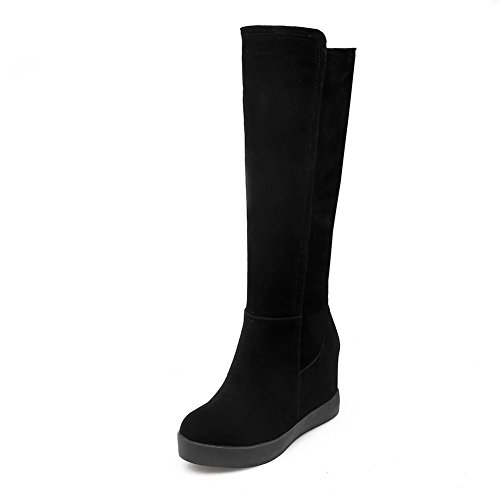 BalaMasa Womens Heighten Inside Platform Round Toe Frosted Boots Black 8q9T69y6w