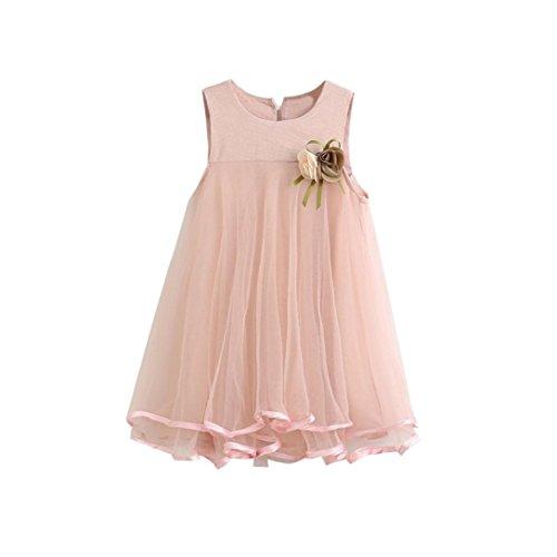 kaifongfu Toddler Dresses,Girl Chiffon Dresses Sleeveless Drape Dress + Brooch (4T, Pink)