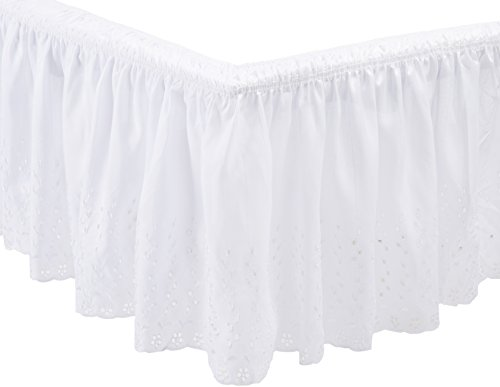 White Dust Eyelet Ruffle - Dainty Home Twin/Full Wrap Around Eyelet Bed Ruffle, White