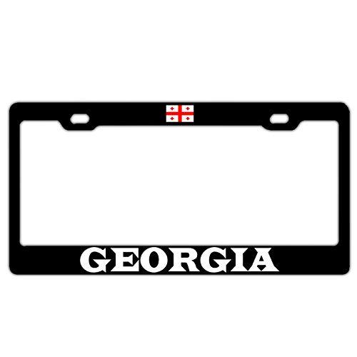 FunnyLpopoiamef Georgia Georgian Flag Black Personalized License Plate Frame Humor Aluminum License Plate Frame Screws Caps 2 Hole -