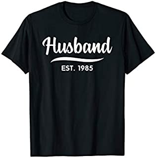 Mens Husband Est 1985  34th Wedding Anniversary for Husband T-shirt | Size S - 5XL