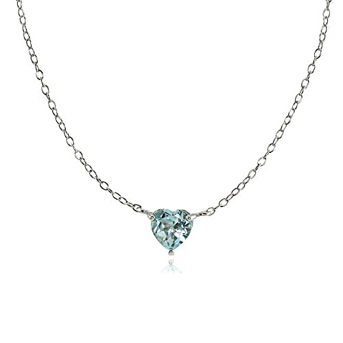 Ice Gems Sterling Silver Small Dainty Blue Topaz Heart Choker Necklace
