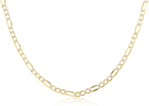 (JOTW 10k Yellow Gold 3mm Pave Figaro Chain - 7